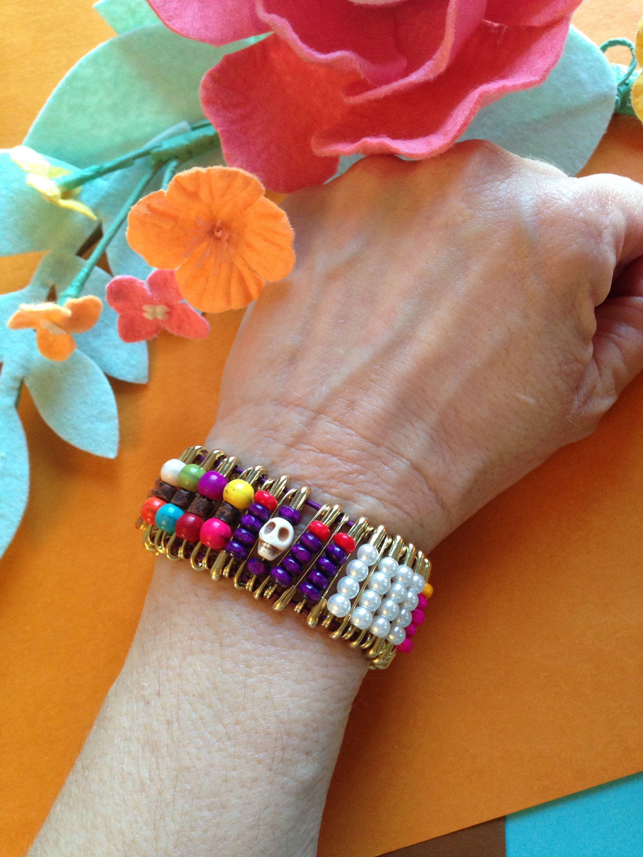 Skull Safety pin cuff bracelet, Salty Felines, Skull beads