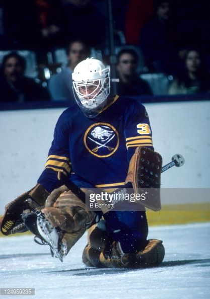 Goalie Tom Barrasso Of The Buffalo Sabres Makes The Kick Save During