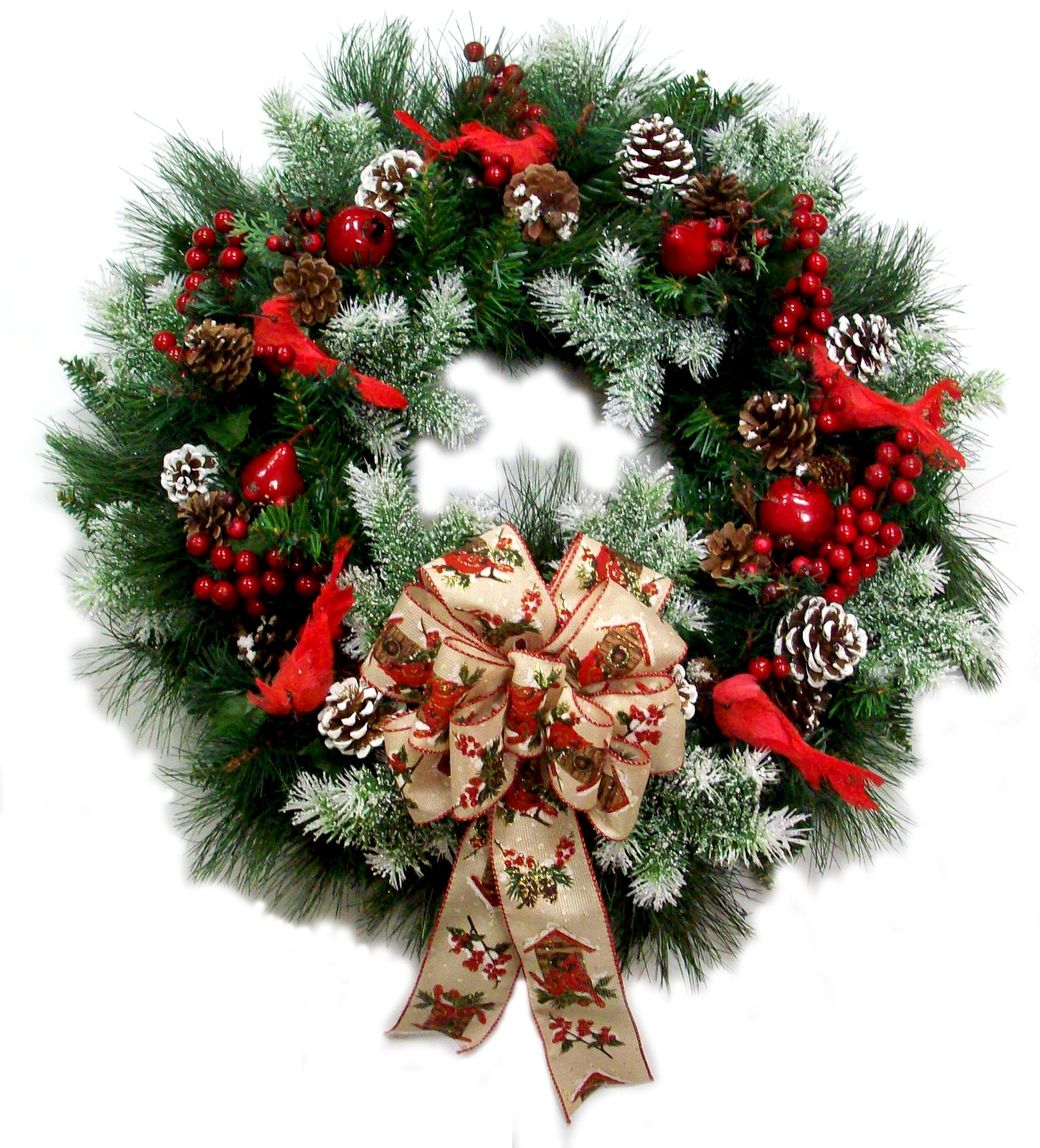 Christmas cardinal wreath designed by karen b a c moore for Michaels craft store erie pa