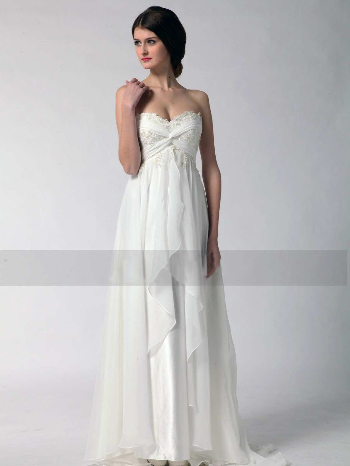 Maternity casual wedding dress  Summer beach wedding dress features lace appliques on the bodice