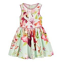1887ec04dd237 Baker by Ted Baker - Girls  pale green textured floral print dress ...