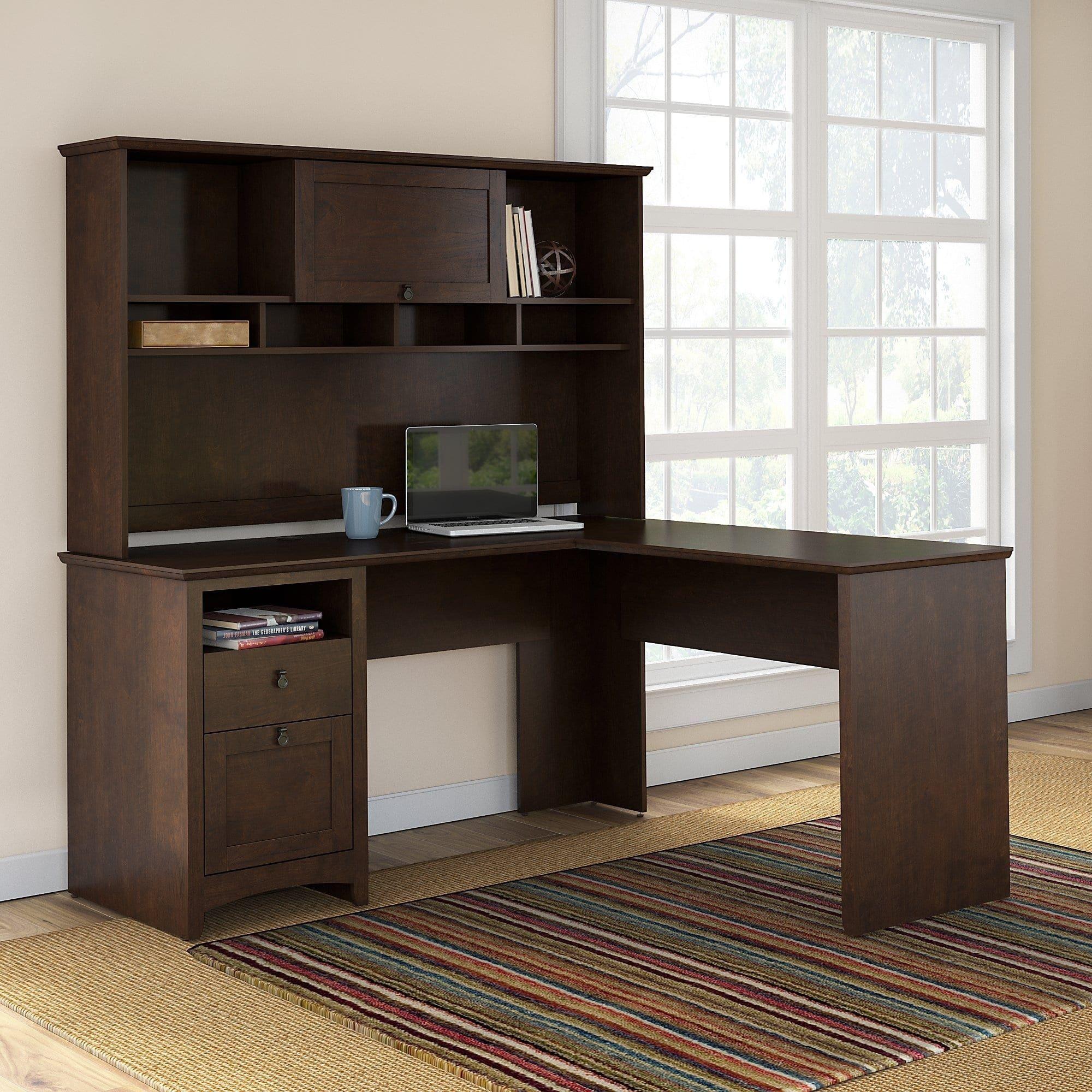 Bush furniture buena vista l shaped desk with hutch in madison