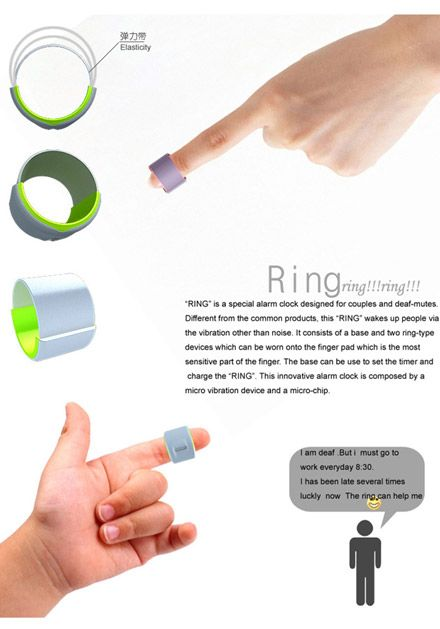 For those really heavy sleepers in your life. Alarming 'Ring' concept vibrates finger to…
