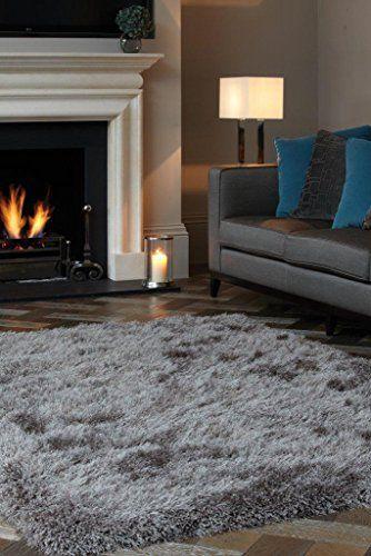 Teppich Wohnzimmer Carpet Hochflor Design CASCADE SHAGGY RUG 100% Polyester  65x135 Cm Rechteckig Grau/