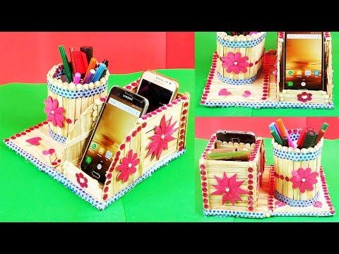Diy How To Make Mobile Phone And Pen Holder From Popsicle Stick