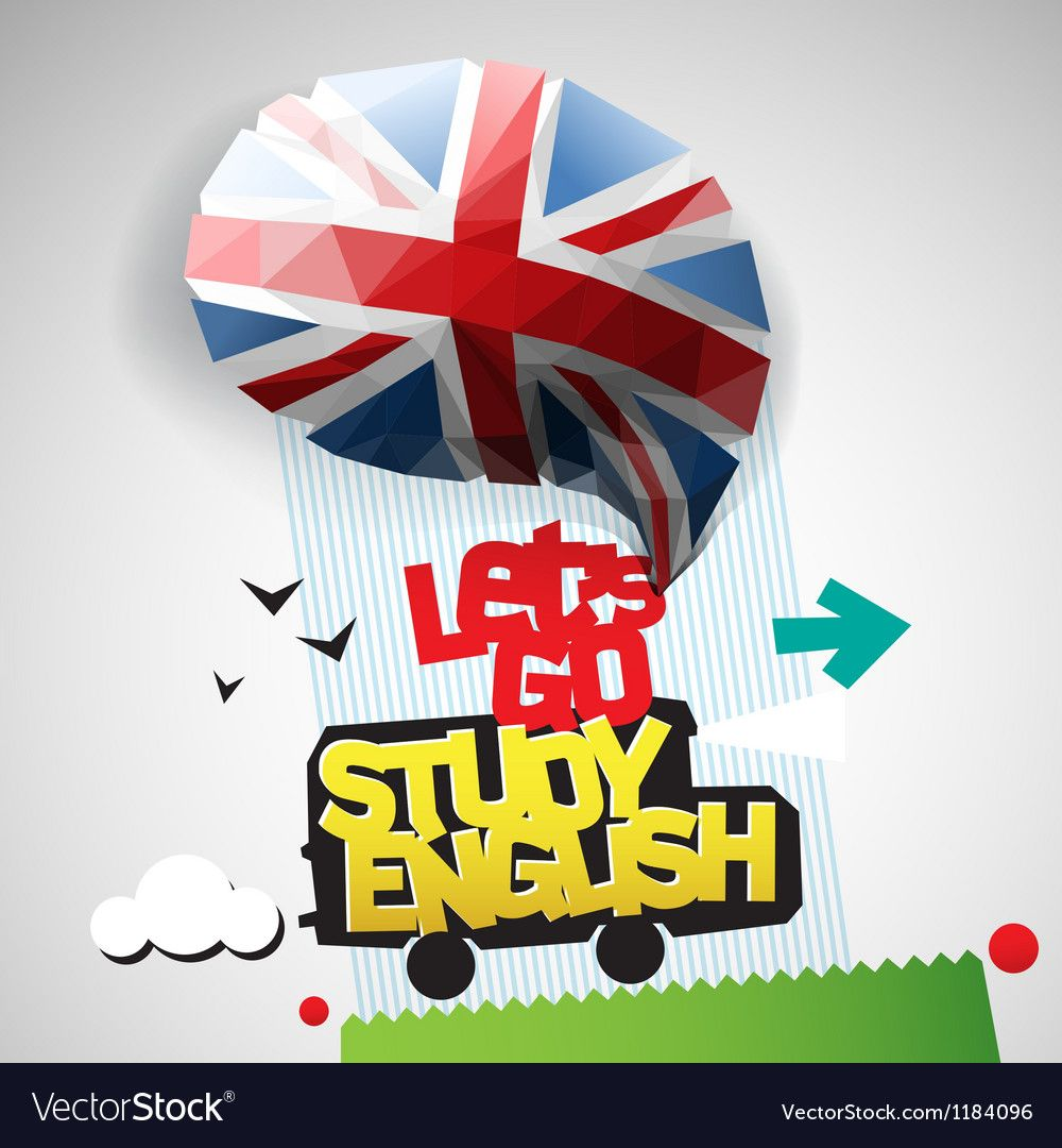 Lets go study English background vector image on