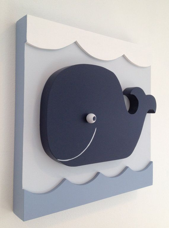 Baby Whale Nautical Kids Room Decor Nursery Wall Art Wood For