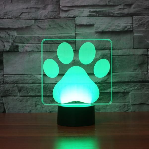 Dog Paw 3d Illusion Lamp Table Lamp Night Light Decor