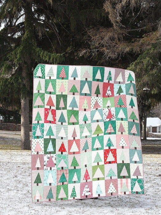 Improv Modern Patchwork Tree Quilt Tutorial | Christmas tree quilt, Christmas tree quilt block ...