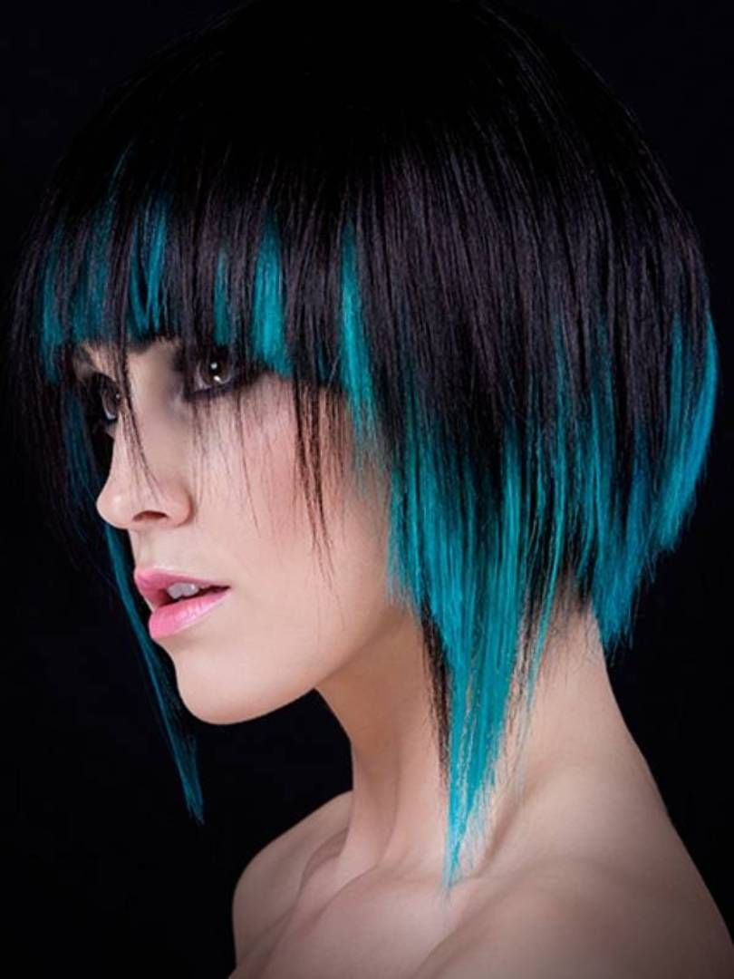 Blue highlights for short dark hair hair pinterest hair hair