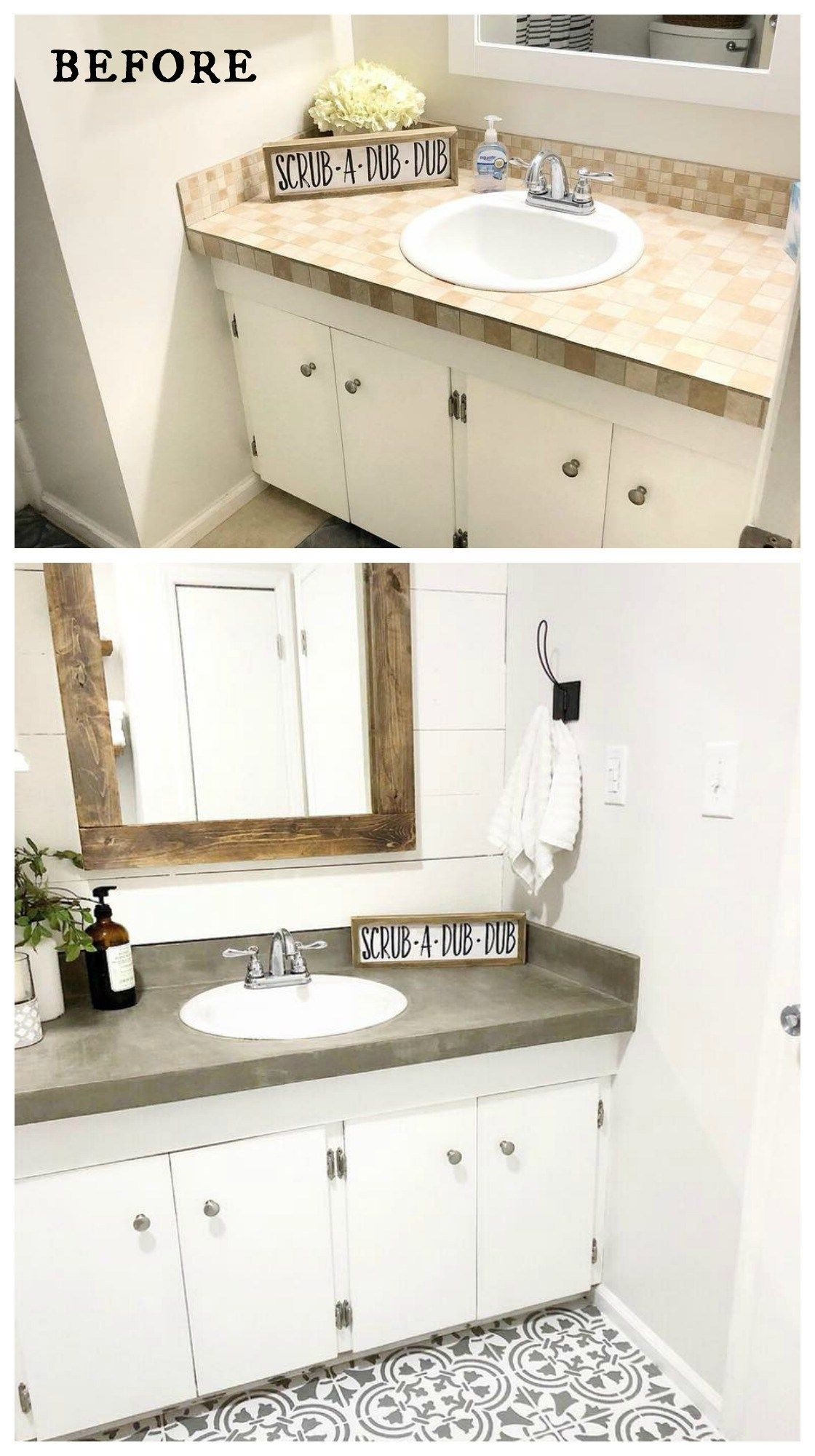 Amazing Before And After Bathroom Renovations And Transformations Sometimes All You Need Is Some Bathroom Flooring Options Bathroom Makeover Mold In Bathroom