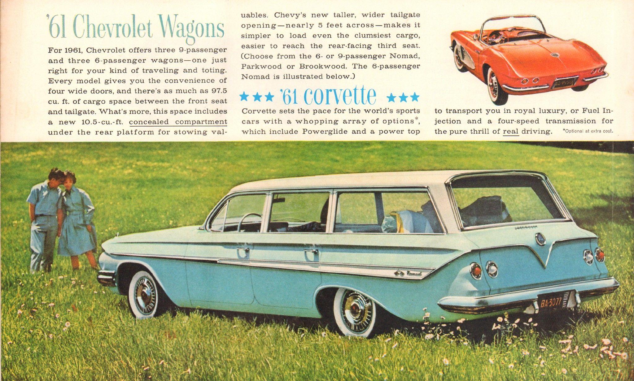1961 Chevrolet Station Wagon And Corvette Advertisement Life Magazine October 10 1960 Chevrolet Station Wagon Corvette