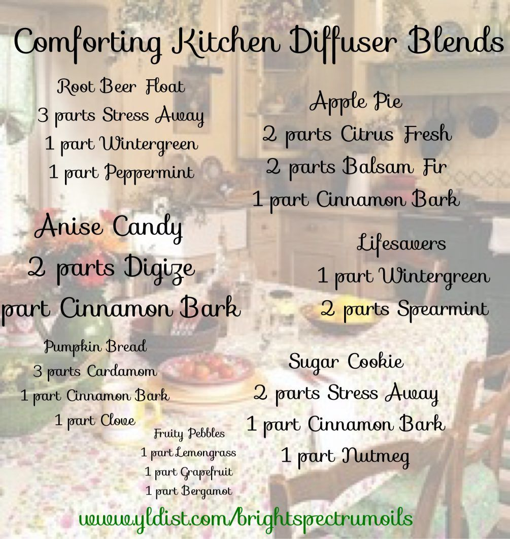 Diffuser Blends for a nostalgic trip to Grandma's Kitchen.  Comforting Kitchen smells.  For any season: fall, winter, spring or summer. #winterdiffuserblends