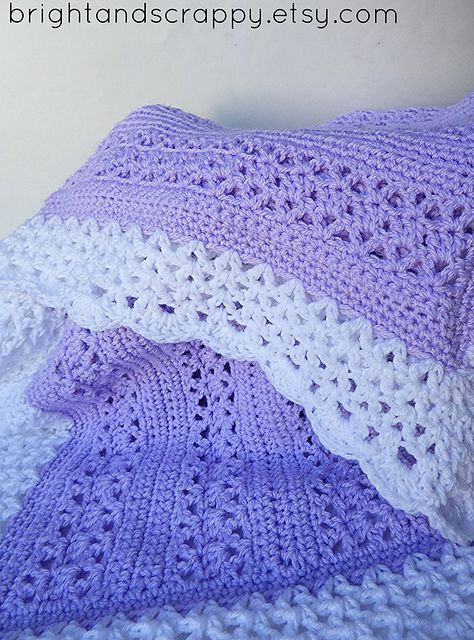A lacy, girly baby blanket perfect for beginners! Uses only basic ...