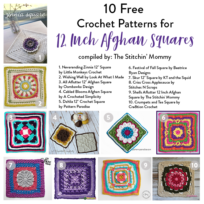 10 Free Crochet Patterns for 12 Inch Afghan Squares | Crafts | Pinterest