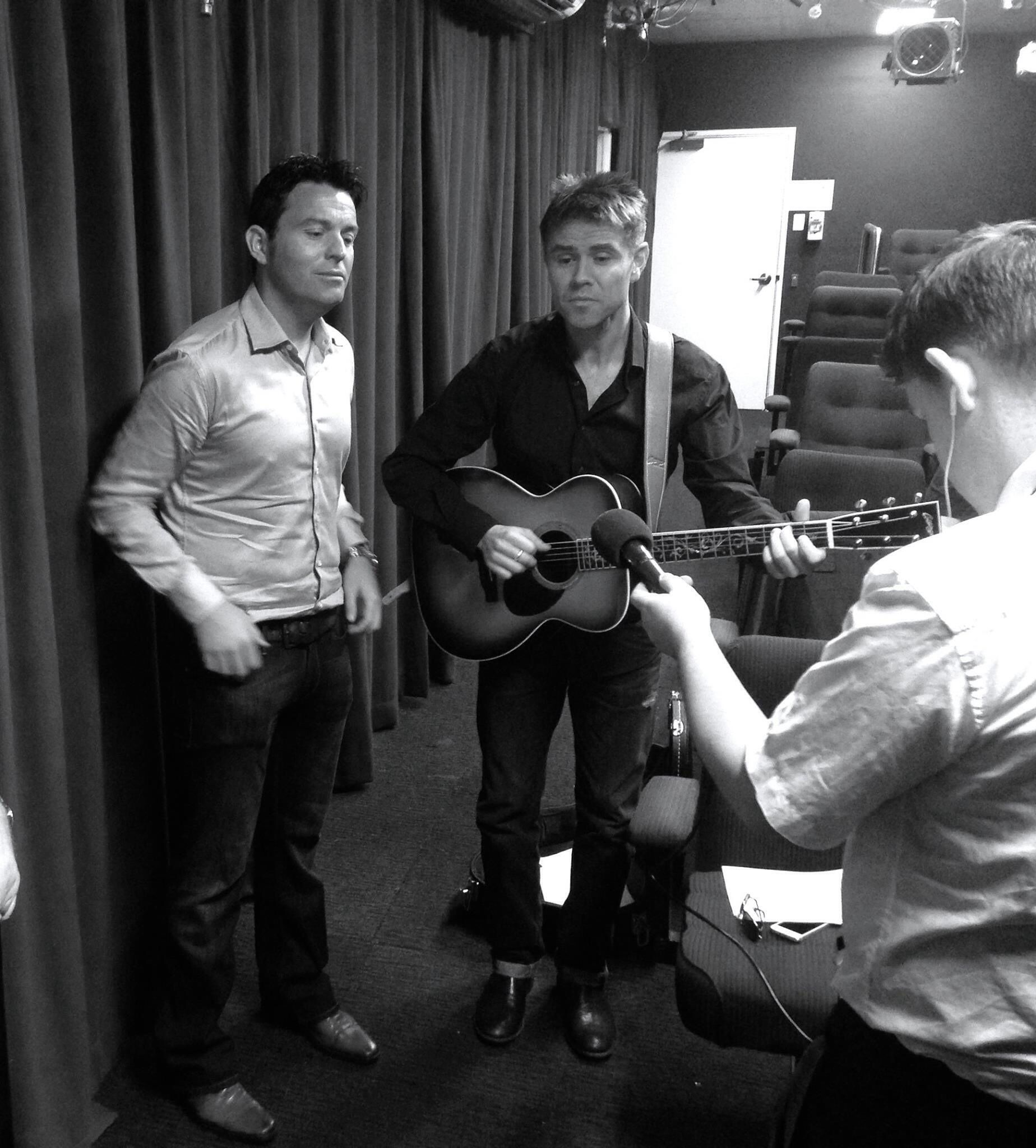 Ryan and Neil rehearsing in Australia