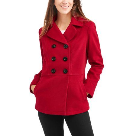 1cf56a13ea Faded Glory Women s Double-Breasted Faux Wool Peacoat With Hood ...