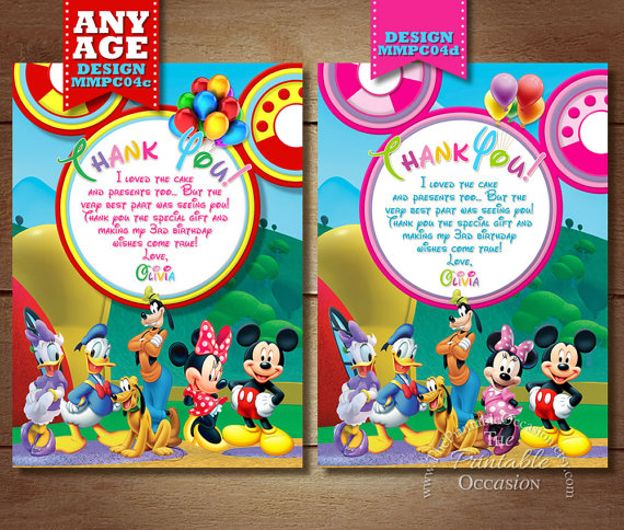 Minnie Mouse Clubhouse Thank You Card Clubhouse Thank You Card