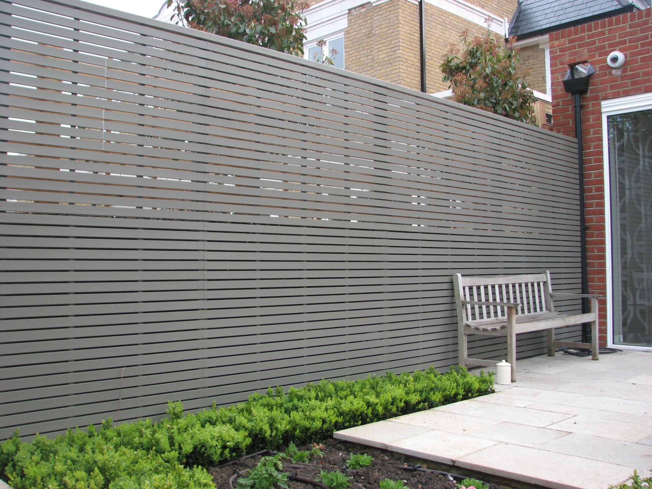 Painted slatted panels  Garden fence panels, Fence design