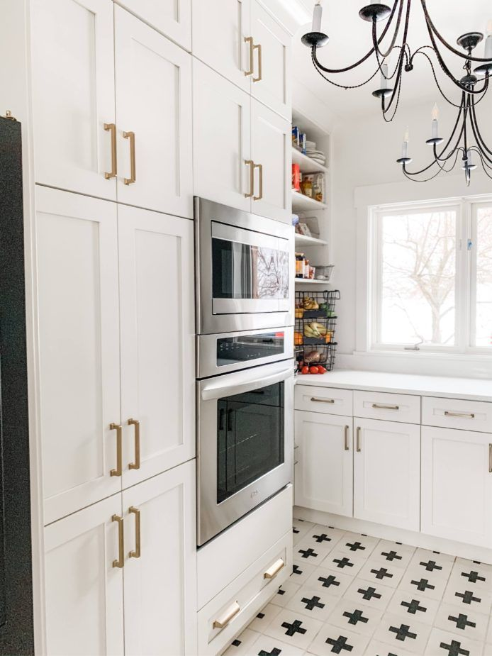 beautiful and clean butler s pantry with white cabinets and gold hardware modern farmhouse on kitchen remodel gold hardware id=58383