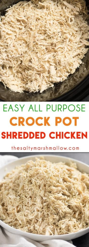 Easy CrockPot Shredded Chicken #easycrockpotchicken