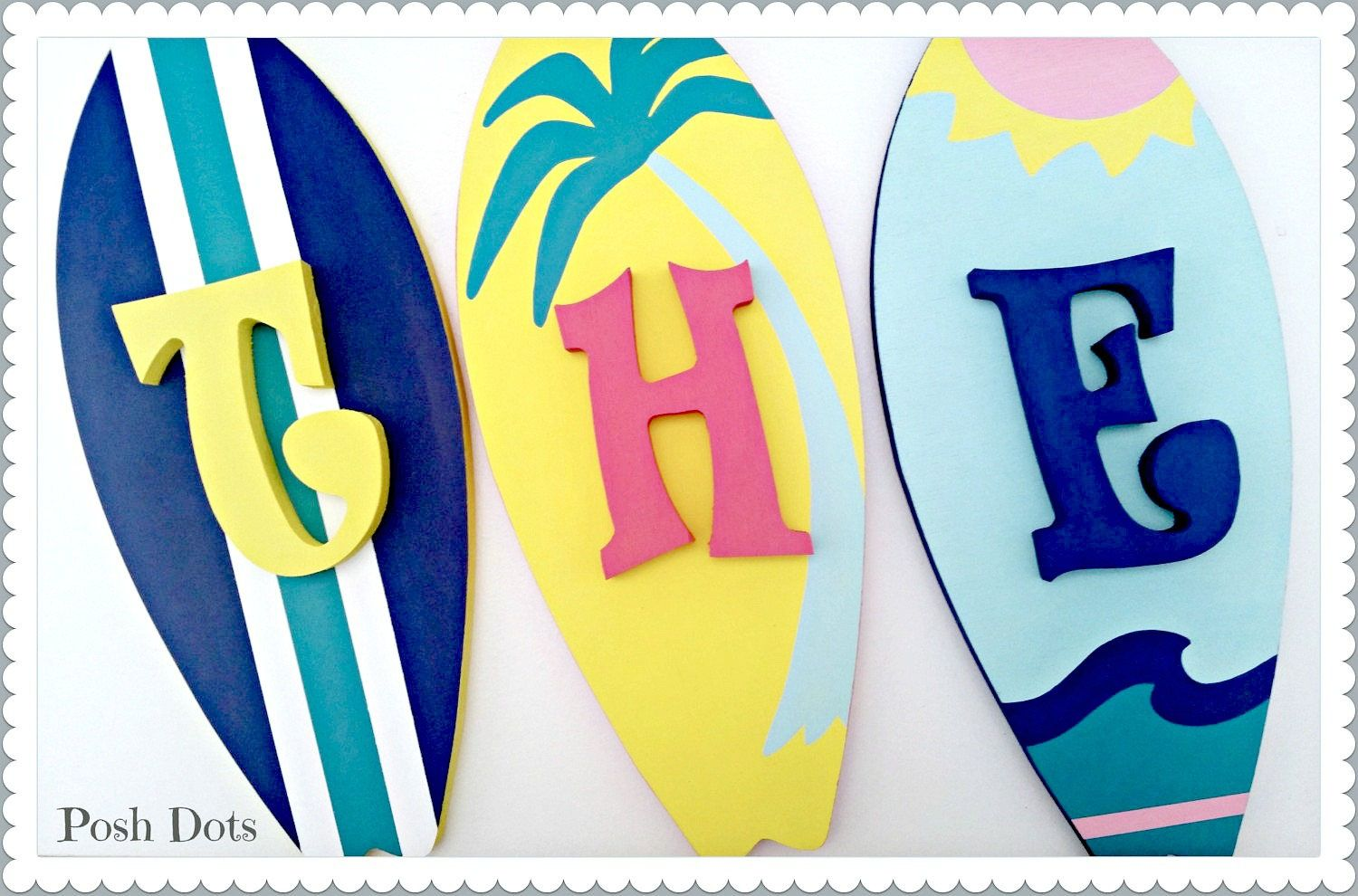 Surfboards, Wooden Letters, Nursery Letters, Playroom Letters ...