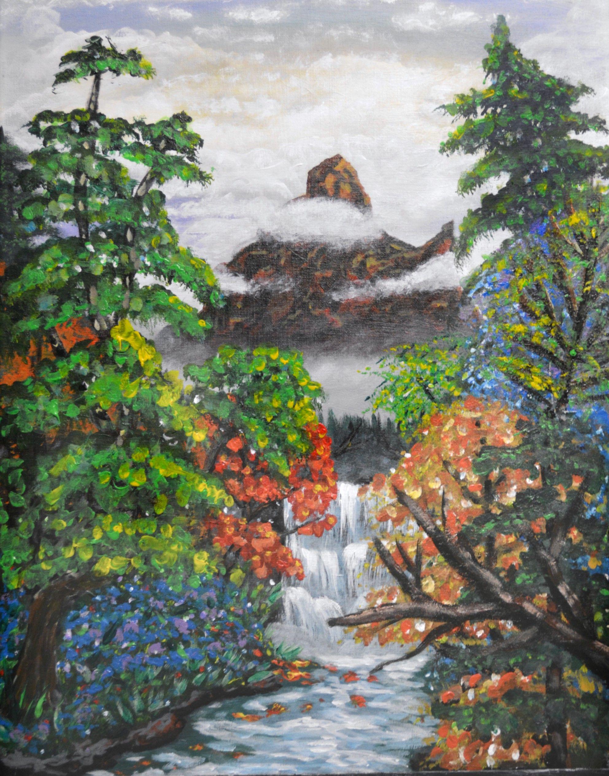 art, landscape, acrylic painting, mountain, waterfall, trees ...