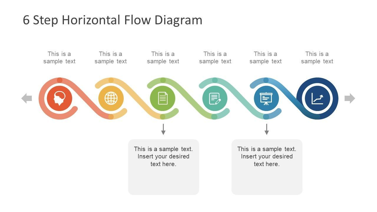 6 step horizontal flow diagram for powerpoint | infographics