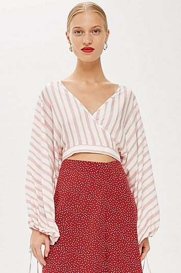 69b19c90d6a75f Womens Stripe Balloon Sleeve Crop Top - Blush
