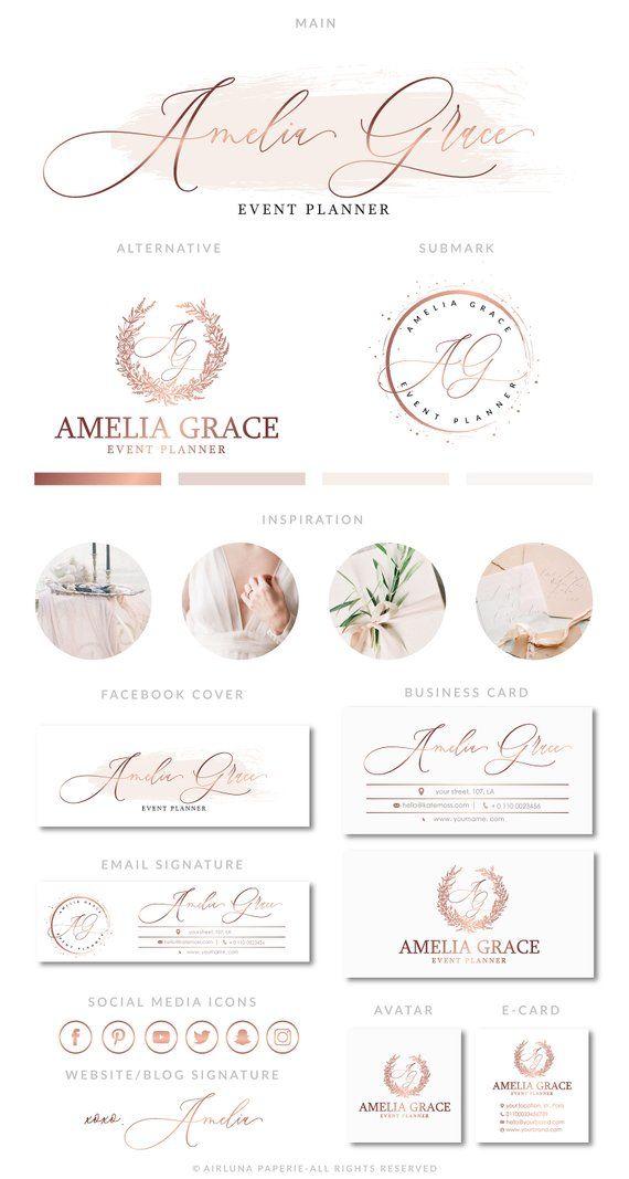 Aquarelle Logo, Logo or Rose, photographie Logo, Premade Logo Design, Logo de la Boutique, timbre de filigrane, Logo Floral, calligraphie Logo, Logos