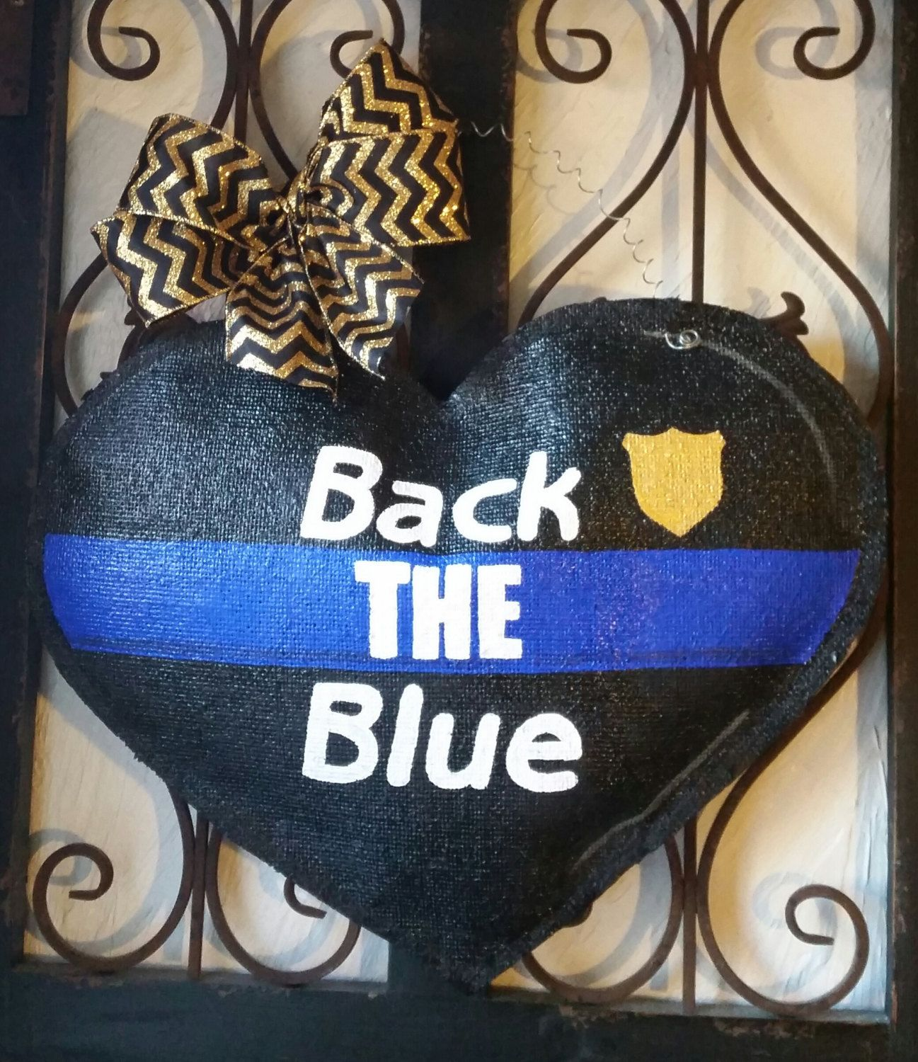 back the blue police officer burlap door hanger decoration and