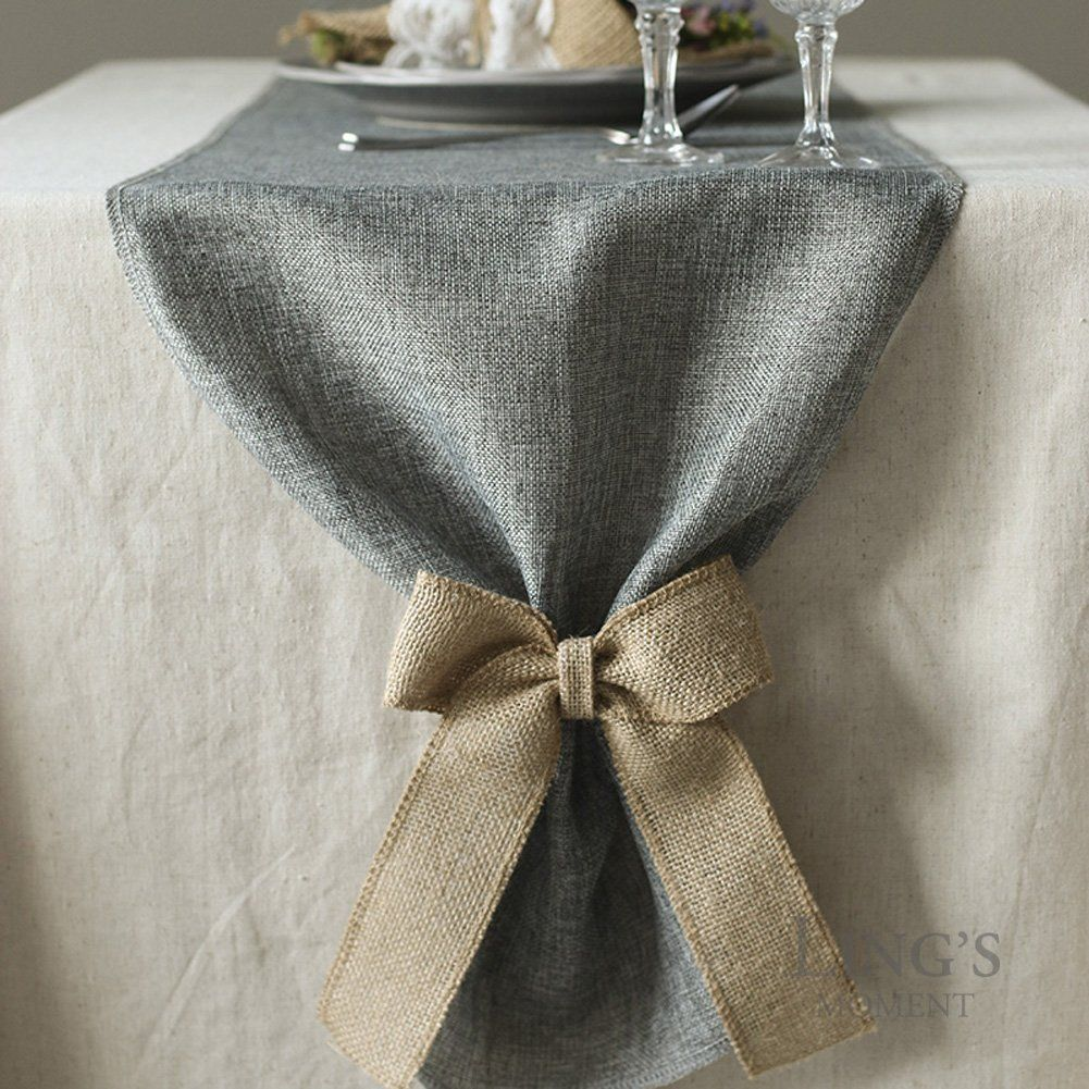 Amazon Com Ling S Moment 14 X 120 Inch Gray Linen Table Runner Wi Wedding Table Decorations Rustic Vintage Table Runners Wedding Vintage Table Runners Wedding