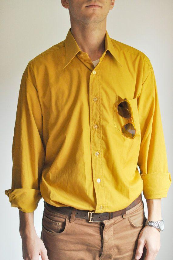 Mustard Mens Shirt. €33.00, via Etsy.