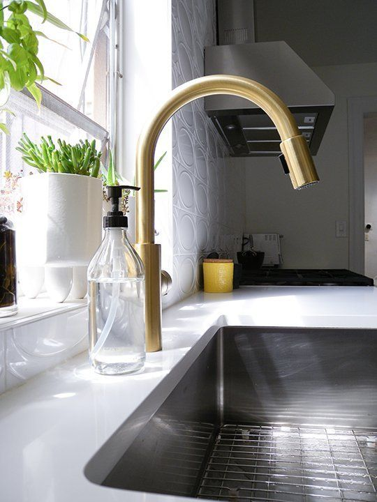 Before Amp After A Brooklyn Kitchen Lightens Up Brooklyn Kitchen Brass Kitchen Faucet Gold