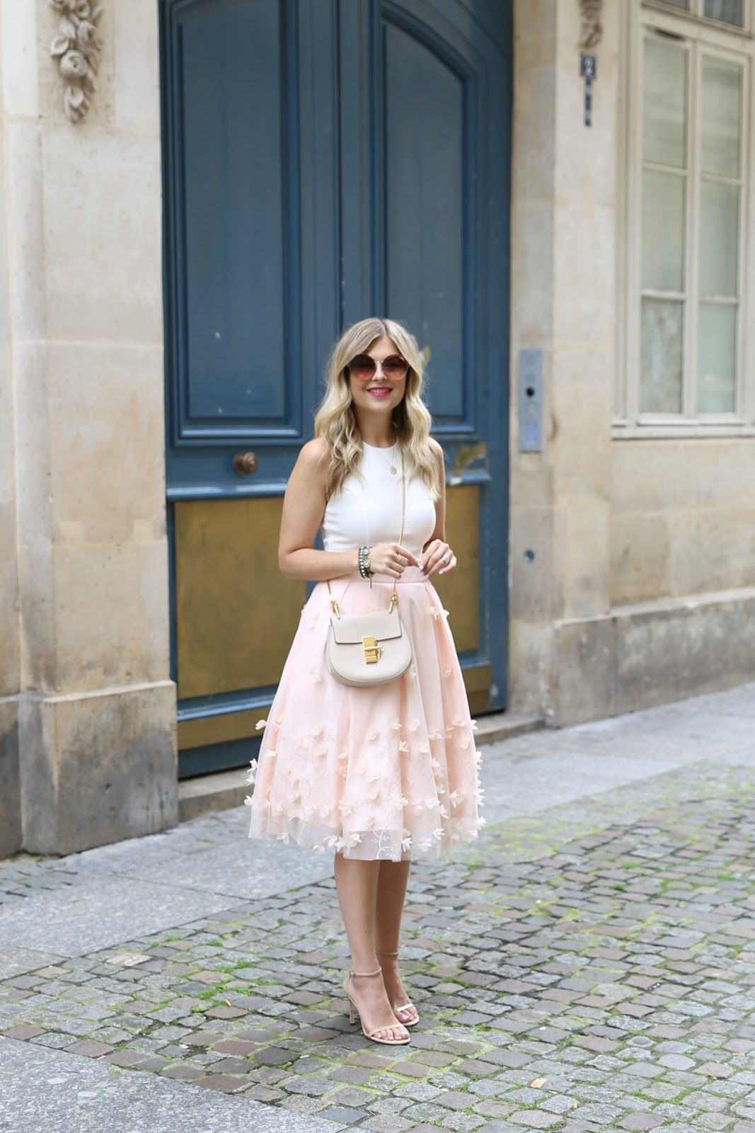 smart casual, dressed up, pink skirt, heels, summer, style, fashion ...