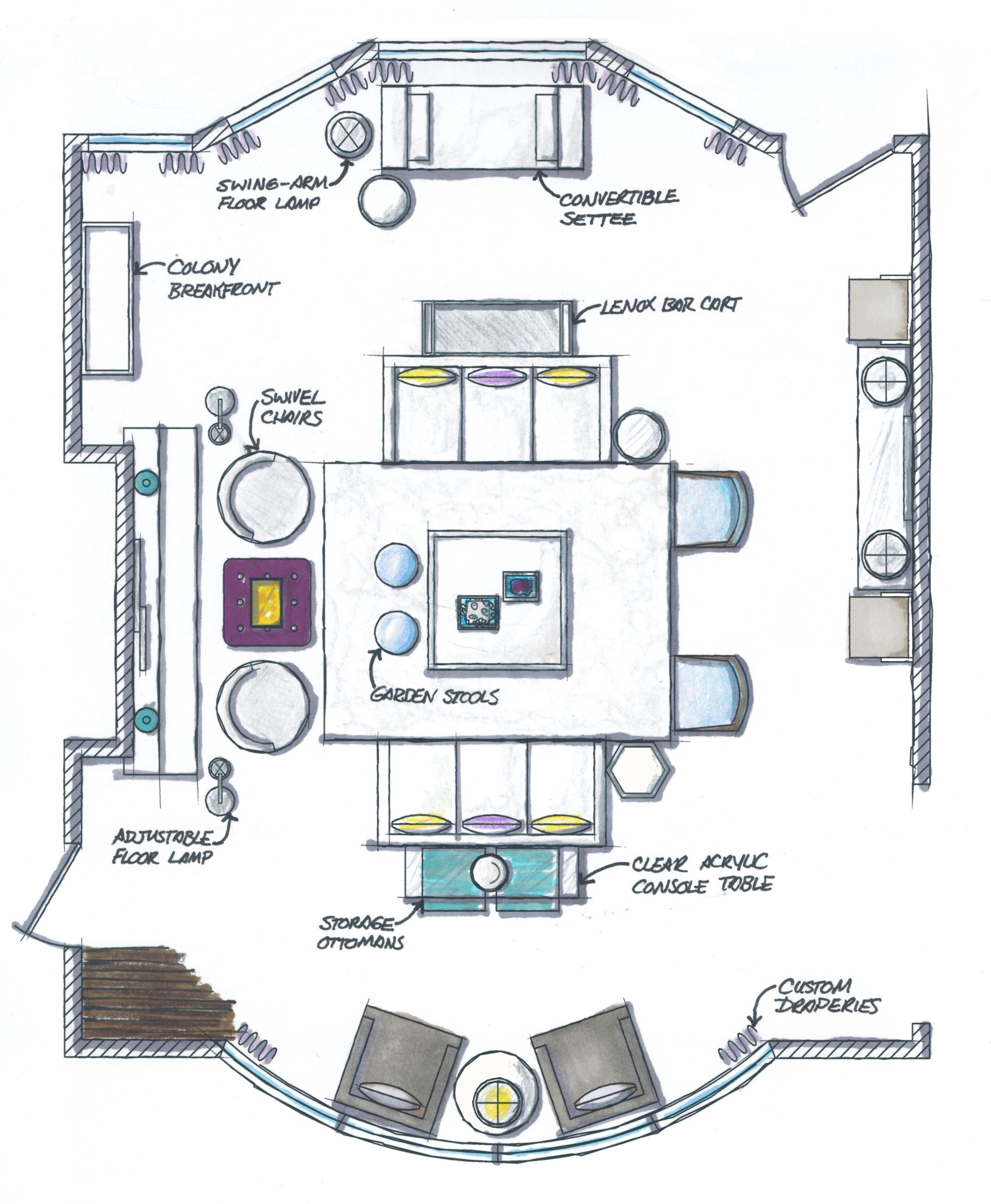 A Floor Plan For An Inbox Interiors Client Interior Design Layout Rendered Floor Plan Floor Plans