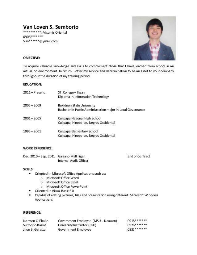 Sample Resume For Ojt Riv Pinterest Sample Resume Resume And