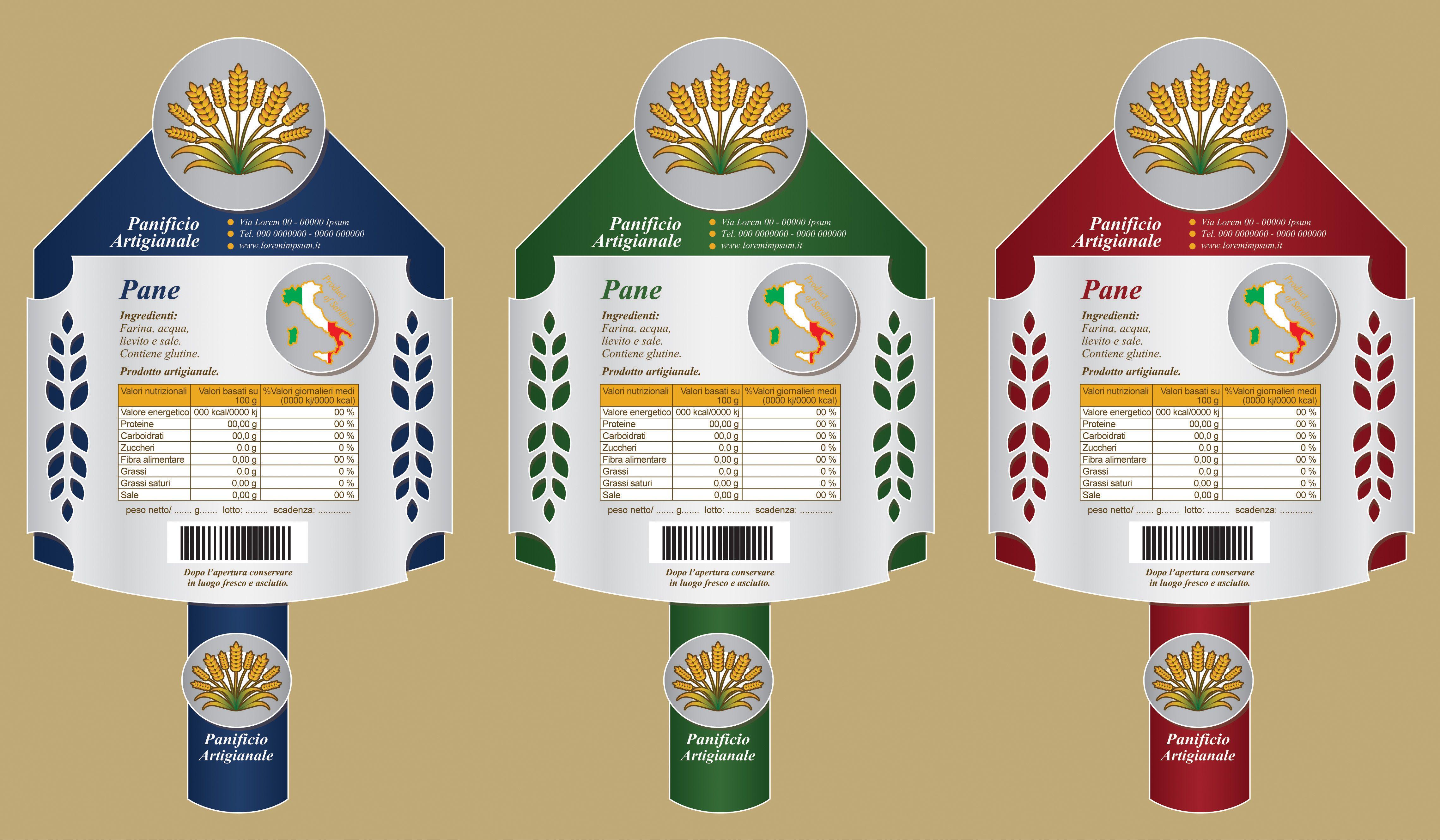 Bozza Etichetta Panificio 7 - Varianti. Bozza grafica etichetta per pane carasau, guttiau e integrale. #giuliabasolugrafica #graphic #illustration #drawing #illustrator #digitalart #vector #label #bakery #breadshop