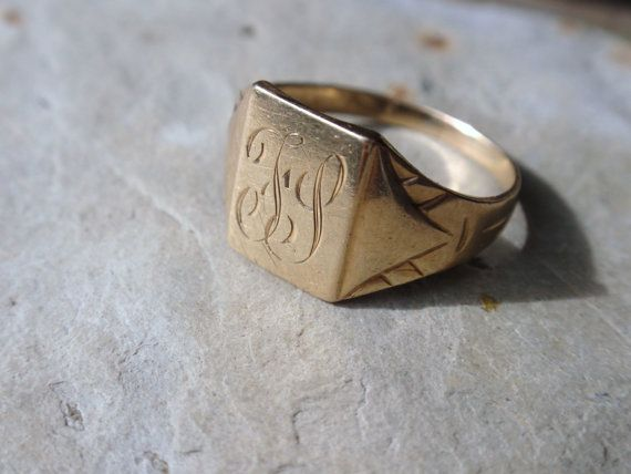 Victorian Signet Ring 10k Gold Vintage Letter F S Ladies Initial Monogram Size 5 Mans Pinky Signet Ring Signet Vintage Lettering