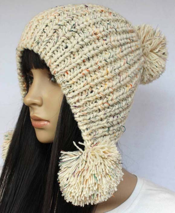 Beige Slouchy woman handmade knitted hat clothing cap   gorros ...