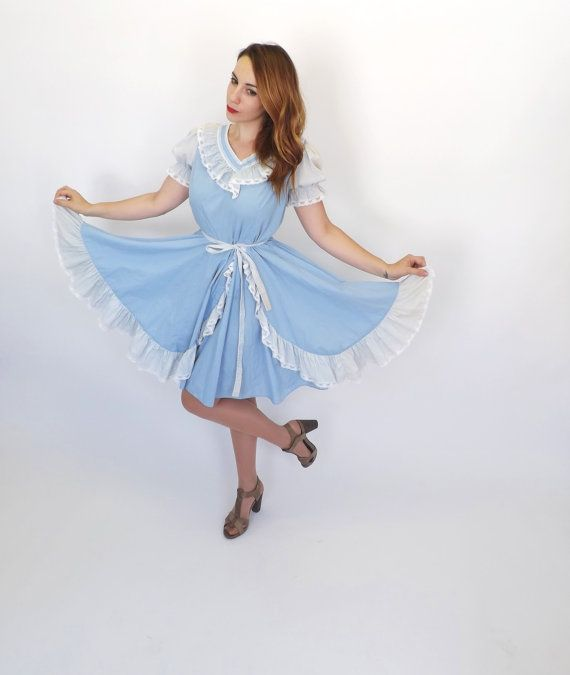 1970s Baby Blue Polyester Dress with Lace and Buttons