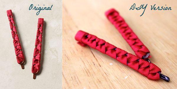DIY ribbon bobby pins