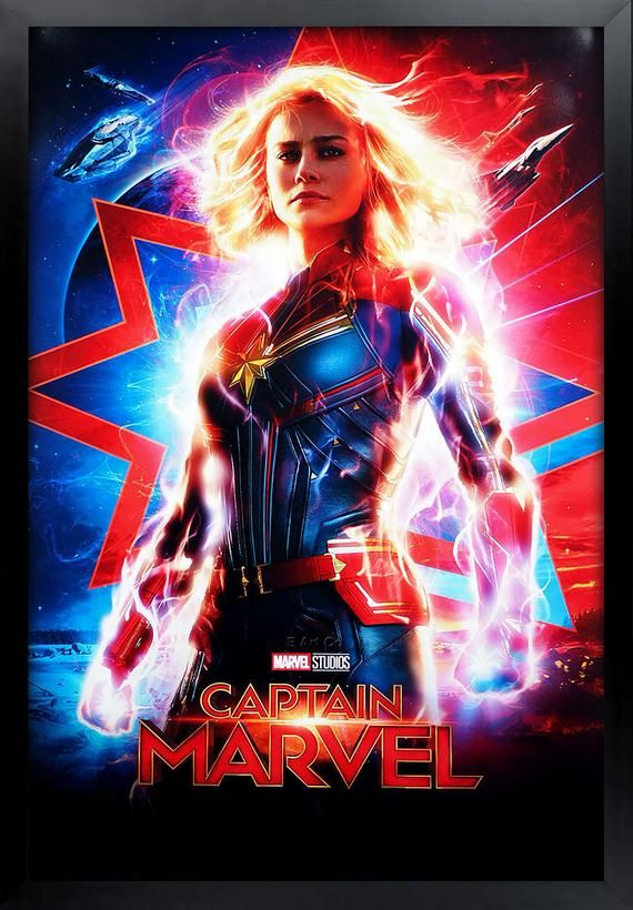 Captain Marvel Movie Poster Framed and Ready to Hang.