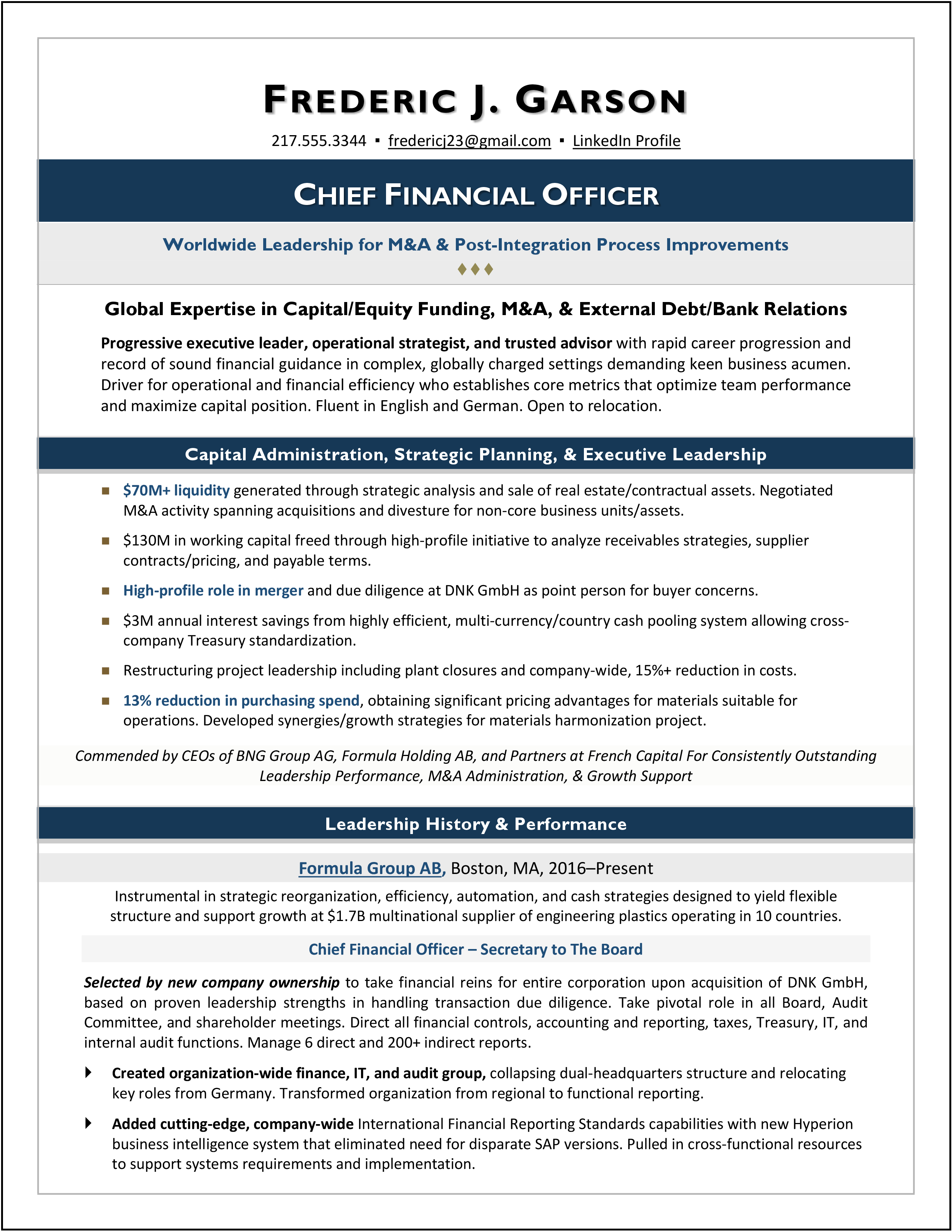 Cfo Resume Sample Page 1 Executive Resume Cover Letter For Resume Resume Examples