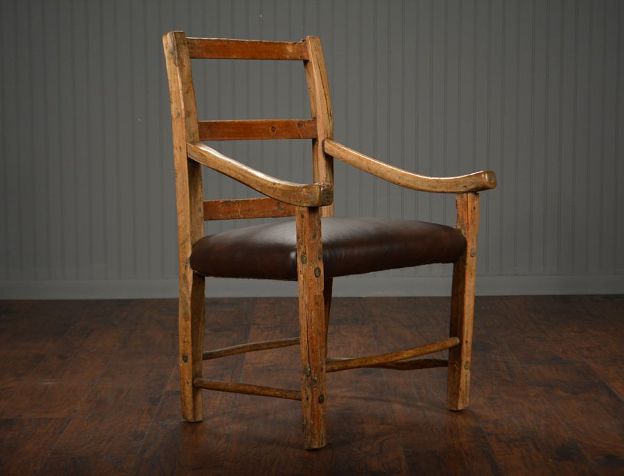 Antique Rustic English Sitting Chair with Upholstered Seat Small Antique  Ladder Back Chair with Curved Arms and Bottom Stretcher Exceptional Patina  and Wood ... - Antique Rustic English Sitting Chair With Upholstered Seat Small