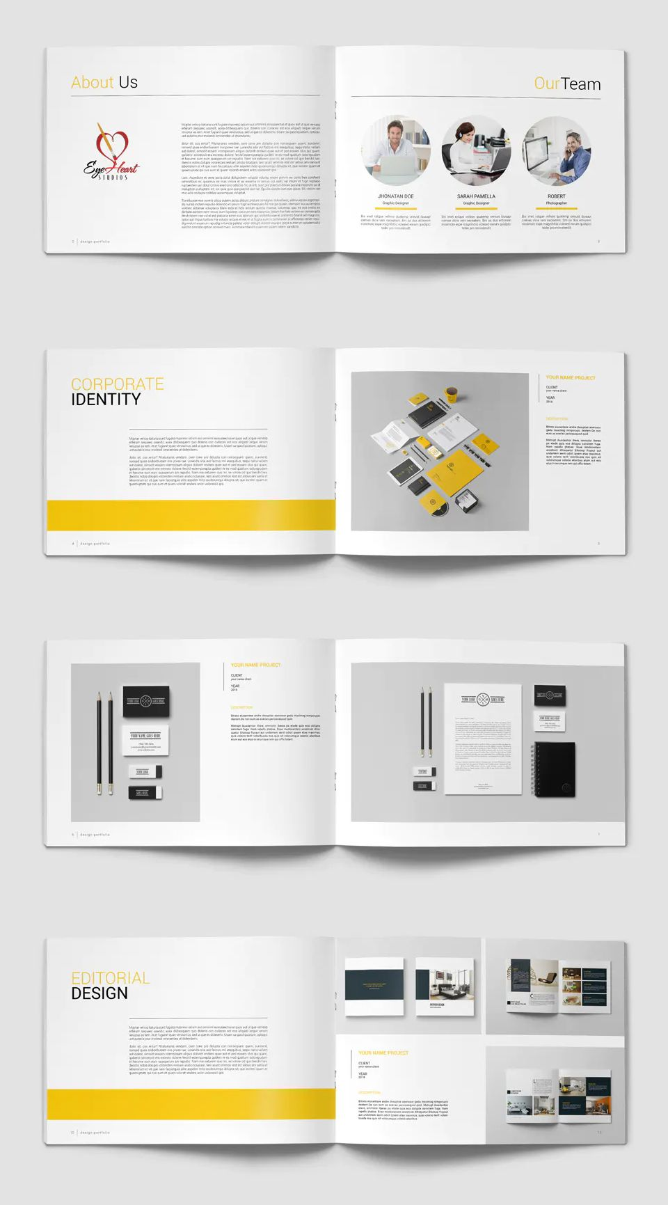 Graphic Design Portfolio Brochure Template InDesign INDD - 40 Pages - A4 and US Letter Size