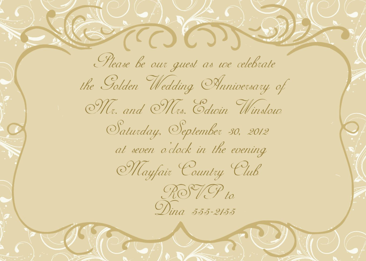 50th Wedding Anniversary Invitation | 50th wedding anniversary ...