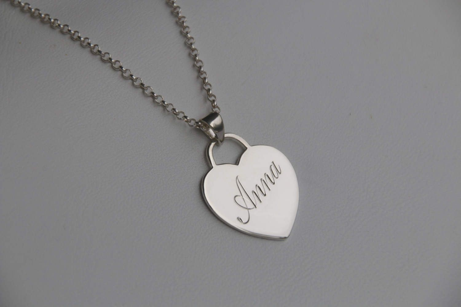 Personalised name necklace silver heart pendant monogram pendant