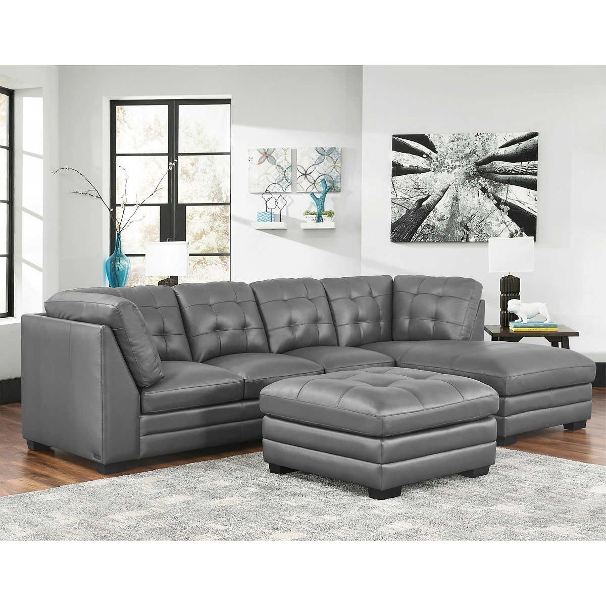 Lawrence Top Grain Leather Sectional with Ottoman Living