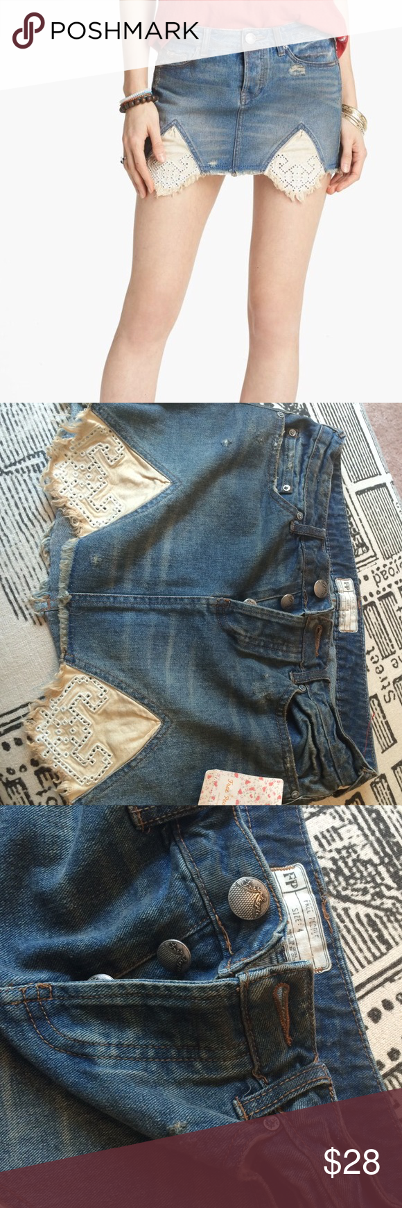 "Free People denim mini skirt NWTs Free People denim ""tire swing"" mini skirt. Size 4 new with tags, cute little summer skirt with lace detail in the front, distressing around the front pockets and a button fly. 11 inches long, inside wIst measures 32. Free People Skirts Mini"